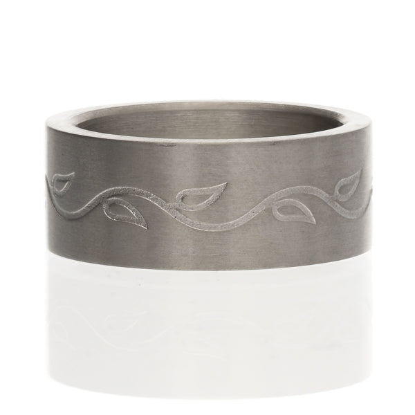 8mm Titanium Brushed Satin Vines and Leaves Wedding Band Ring - Silver Insanity