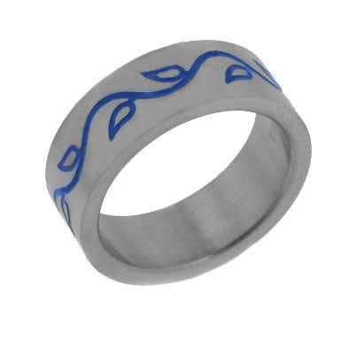 Titanium Celtic Blue Vines Wedding Band Ring
