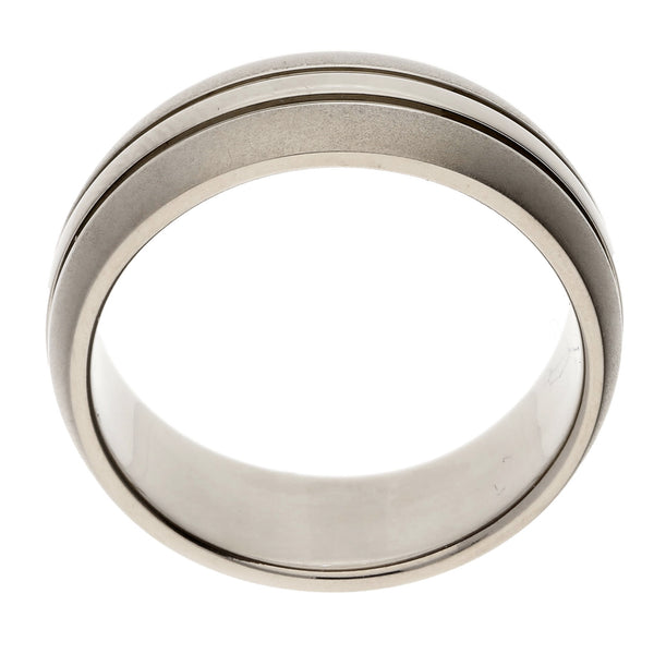 Mens Single Stripe Brushed Satin Pure Titanium Wedding Band Ring - Silver Insanity