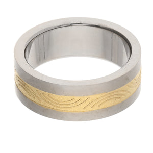 Etched Golden Stripe Titanium Wedding Band Ring - Silver Insanity