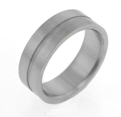 Mens Unispace Striped Brushed Satin Titanium Wedding Band Ring - Silver Insanity