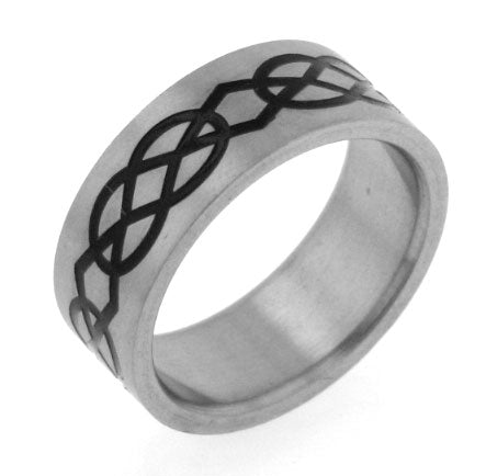Titanium Black Celtic Knot Wedding Band Ring