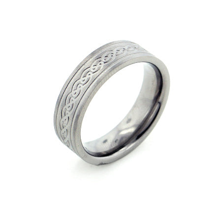 6mm Wide Mens and Womens Titanium Etched Celtic Knot Wedding Band Ring