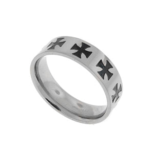 Mens Titanium Black Celtic Iron Cross Band Ring - Silver Insanity