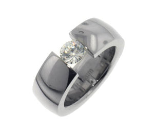 Tension 5mm Round CZ Titanium Wedding Band Ring - Silver Insanity