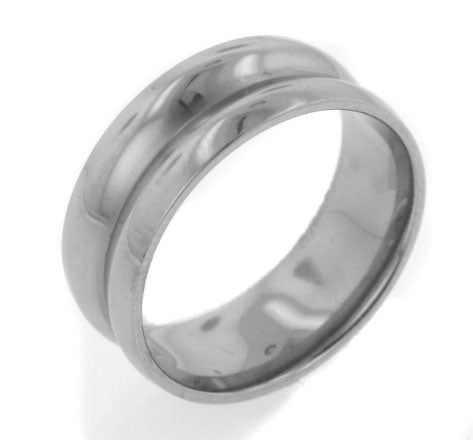 7mm Saturn Concaved High Polish Titanium Comfort Wedding Band Ring - Silver Insanity