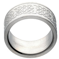 10mm Wide Embossed Celtic Knot Pattern Titanium Wedding Band Ring - Silver Insanity