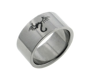 10mm Wide Mens Titanium Winged Dragon Band Ring - Silver Insanity