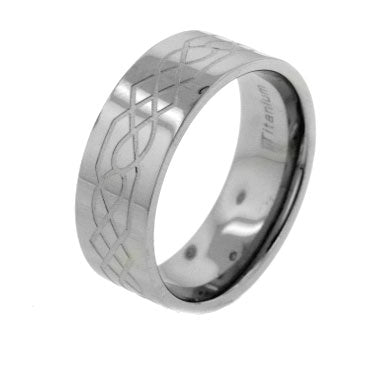 8mm Wide Mens Titanium Etched Celtic Knot Pattern Wedding Band Ring - Silver Insanity