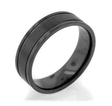 Mens Black Twilight Blackened Satin Finish Titanium Wedding Band Ring - Silver Insanity