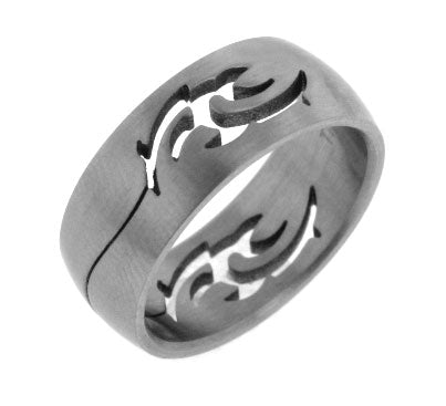 Mens Brushed Satin Titanium Celtic Flame Artistic Tribal Fire Band Ring