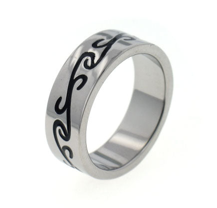 Titanium Black Celtic Scroll Wedding Band Ring - Silver Insanity