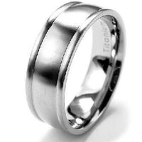 7mm Wide Mens Solid Titanium Classic Wedding Band Ring - Silver Insanity