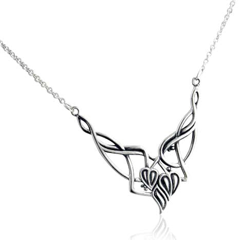 Celtic Knot Vine and Leaves Sterling Silver Necklace
