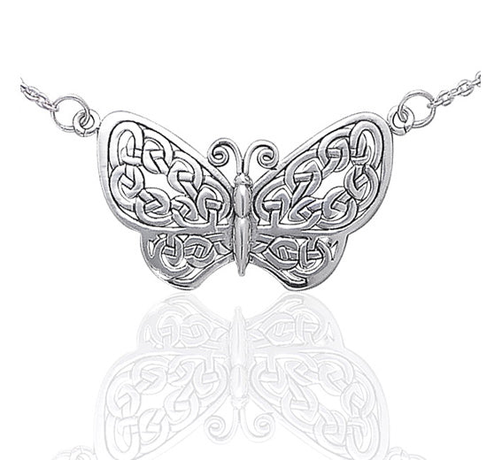 "Sterling Silver Celtic Knot Filigree Butterfly 17"" Adjustable Necklace"