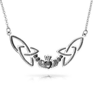"Sterling Silver Celtic Claddagh Trinity Knot Adjustable 18"" Necklace - Silver Insanity"