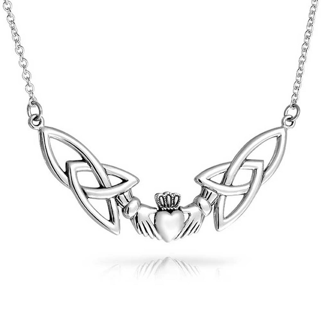 "Sterling Silver Celtic Claddagh Trinity Knot Adjustable 18"" Necklace"