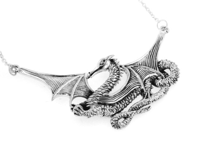 Sterling Silver Large Detailed Winged Sea Dragon Serpent Necklace - Silver Insanity