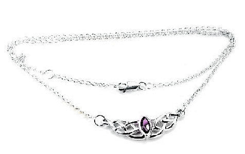 Sterling Silver Interlace Celtic Knot Amethyst Necklace - Silver Insanity