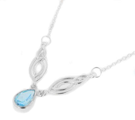 "Adjustable 17"" Sterling Silver Double Celtic Ovals Blue Topaz Necklace - Silver Insanity"