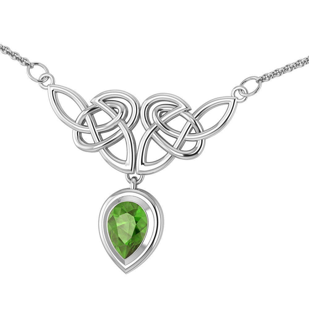 Sterling Silver Celtic Knot Knotwork Necklace with a Bright Green 7x10mm Peridot - Silver Insanity