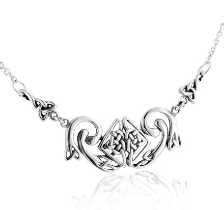 "Intricate Celtic Serpent Knot Adjustable 18"" Sterling Silver Necklace"