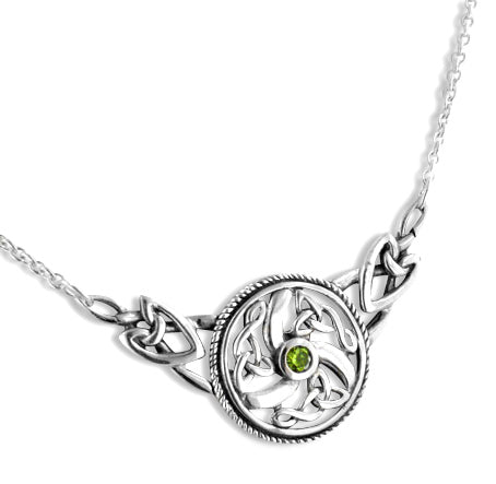 "Sterling Silver Swirled Celtic Knot Round Green Peridot 17"" Necklace"