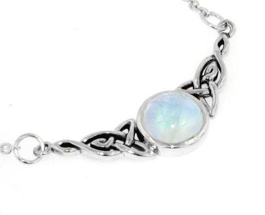 Sterling Silver Celtic Knot Rainbow Moonstone Adjustable Eternity Necklace - Silver Insanity