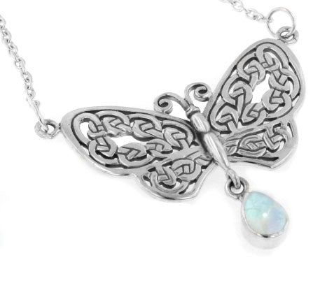 Sterling Silver Celtic Butterfly Rainbow Moonstone 17