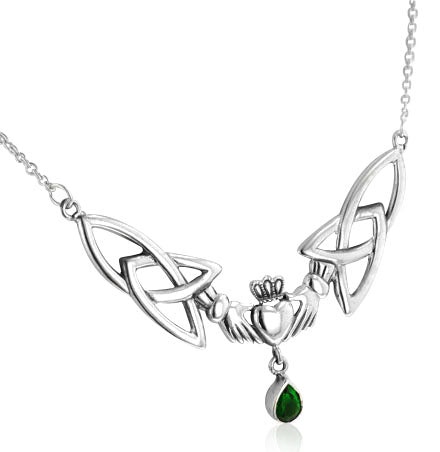 "Sterling Silver Celtic Claddagh Trinity Knots Emerald-Green Glass 17"" Necklace"
