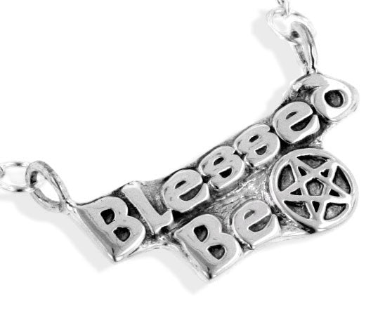 Sterling Silver Blessed Be Pentacle Wiccan Necklace - Silver Insanity