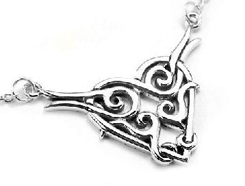 Sterling Silver Tribal Celtic Knot Love Heart Necklace