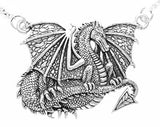Sterling Silver Detailed Heavy Dragon Pendant Necklace - Silver Insanity