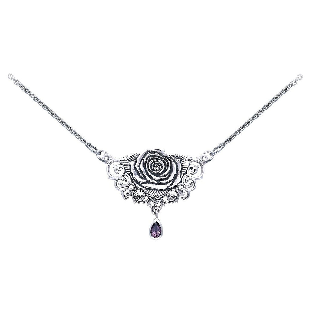 "Sacred Rose Sterling Silver 17"" Necklace with Amethyst Gemstone Drop"