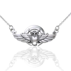 "Moonlight Flight - Winged Owl Sterling Silver Adjustable 16"" Chain Necklace - Silver Insanity"