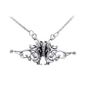"Flowing Celtic Knot and Black Butterfly Sterling Silver Adjustable 17"" Necklace - Silver Insanity"