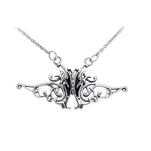 Flowing Celtic Knot and Black Butterfly Sterling Silver Adjustable 17