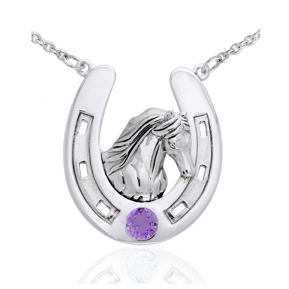 "Sterling Silver Large Horseshoe Necklace with Friesian Horse Head Amethyst 18"" - Silver Insanity"