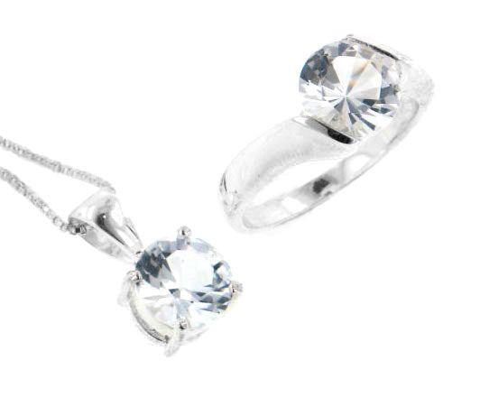Sterling Silver White Topaz Necklace and Ring Set - Silver Insanity