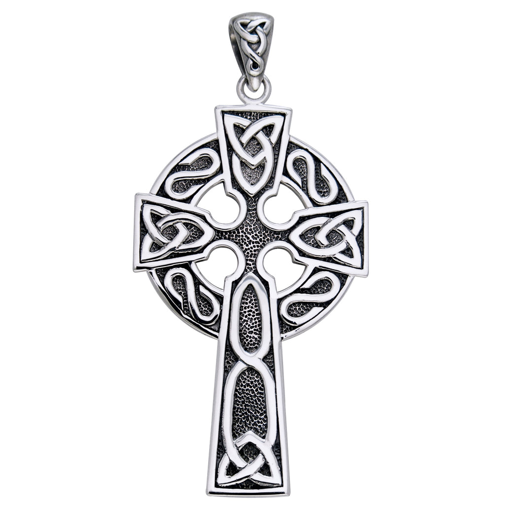 "Large 2"" Sterling Silver Celtic Knot Cross Pendant"
