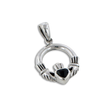 Small Sterling Silver Celtic Claddagh Black Onyx Inlay Heart Charm Pendant - Silver Insanity