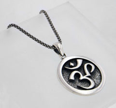 "OM Aum Hindu Yoga Symbol Antiqued Sterling Silver Medallion Pendant 18"" Necklace"