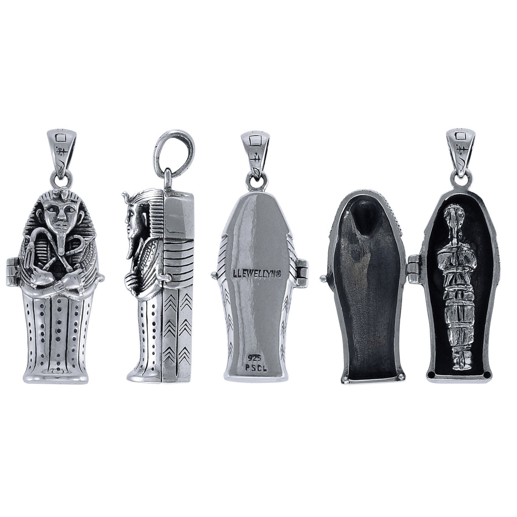 Sterling Silver Egyptian Opening 3D Tomb Coffin Mummy Locket Pendant