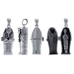 Sterling Silver Egyptian Opening 3D Tomb Coffin Mummy Locket Pendant - Silver Insanity