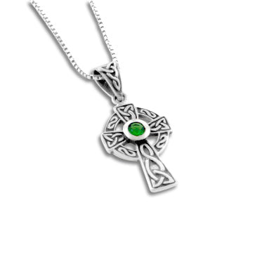 Sterling Silver Celtic Knot Cross Green Glass Necklace, 18""