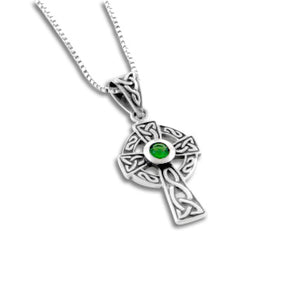 "Sterling Silver Celtic Knot Cross Green Glass Necklace, 18"" - Silver Insanity"