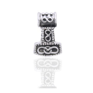 Small 3D Nordic Viking God Thor's Hammer Sterling Silver Slide Pendant - Silver Insanity