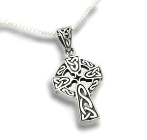 "Celtic Knot Sun Cross Sterling Silver Pendant with 18"" Necklace - Silver Insanity"
