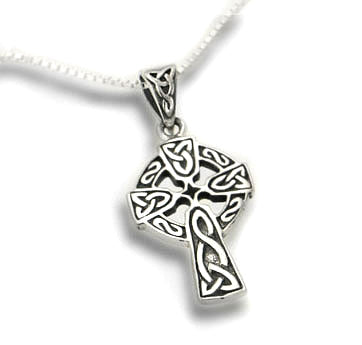 Celtic Knot Sun Cross Sterling Silver Pendant with 18