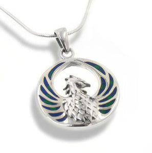 Azurite Winged Phoenix Sterling Silver Pendant Necklace - Silver Insanity